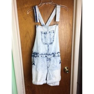Debshops Acid Wash Plus Size Overall Shorts